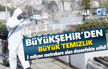 Büyükşehir Belediyesi 3 milyon metrekare alanı dezenfekte etti