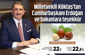 Milletvekili Köktaş'tan Cumhurbaşkanı Erdoğan ve bakanlara teşekkür