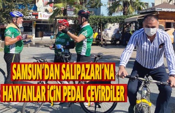 Samsun'dan Salıpazarı'na hayvanlar için pedal çevirdiler