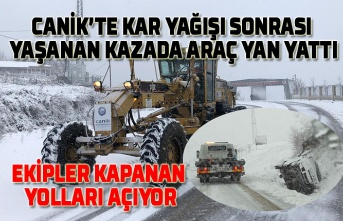 Samsun'da kar yağışı kazaları da beraberinde getirdi, yollar temizleniyor!