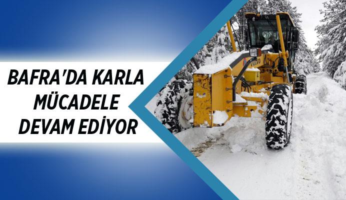 Bafra Belediyesi karla mücadele de tüm imkanlarını seferber etti