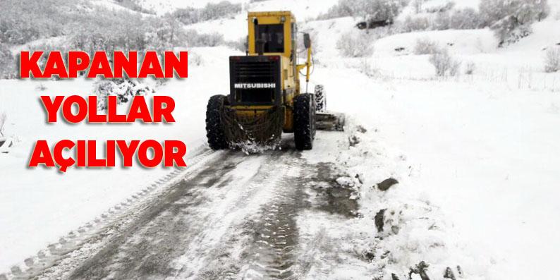 Samsun'da kar nedeniyle kapanan yollar açılıyor