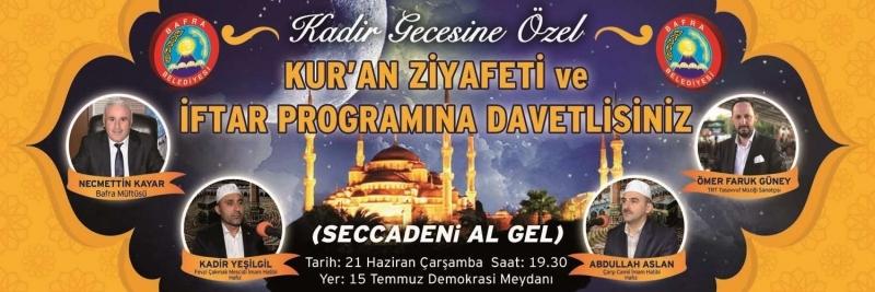 Bafra Belediyesi'nden Kadir Gecesi'ne özel program