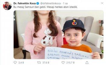 Sağlık Bakanı Fahrettin Koca iki kardeşin Samsun'dan görderdiği evde kalın mesajını yayınladı